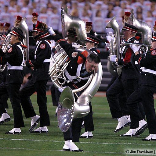 "Kevin Smith, ""dotting the 'i'"" in Script Ohio at the 2003 BCS National Championship Game"